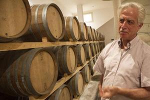 Numera lagras en del av Candidos viner helt eller delvis på nya små ekfat, något som faktiskt enligt vinbestämmelserna i området för inte så länge sedan var förbjudet. Här inspekterar ägaren Sandro Candido fatlagret med barriquer. Foto: Sune Liljevall