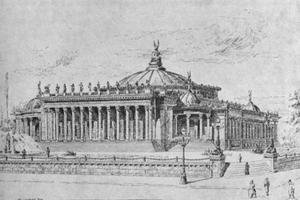 Här är Melanders förslag till kongressens bibliotek i Washington. Tyvärr uppfördes aldrig byggnaden, Melander kom på andra plats i arkitekttävlingen.