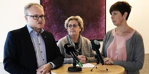 Det nya styret i Region Västernorrland: Glenn Nordlund (S), Lena Asplund (M) och Ingeborg Wiksten (L).