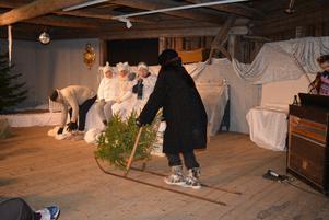 Muminfamiljen sitter nyvakna på taket när Gaffsan kommer farande på sparken med sin julgran.