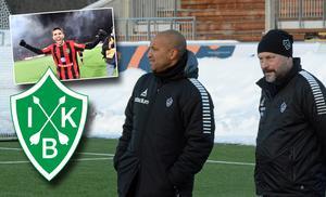 Bragetränaren, Klebér Saarenpää och klubbens målvaktstränare, Peter Kristoffersson får hoppas på att Brage kan hålla koll på Luca Polo i lördagens match mot Frej.