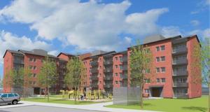 Så här kanske det nya kvarteret kommer att se ut. I exemplet är tre huskroppar fem våningar medan hörnet har sex våningar.