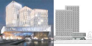 Det här är den första och den senaste illustrationen av hotellet vid Marenplan. Nu får Stadsrum i uppdrag att göra ännu fler skisser. Illustration: FOJAB/Stadsrum