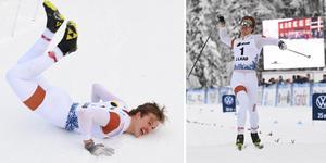 Olle Jonsson dansade efter segern i sprintpremiären.