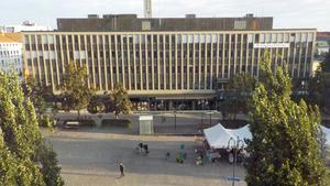 Den här vyn över Stora torget i Västerås syns från Stadshotellet.