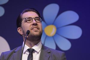 Sverigedemokraternas partiledare Jimmie Åkesson talar under partiets landsdagar i Örebro.