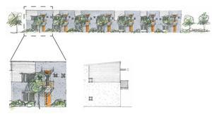 De blivande radhusen med fasaden mot Sofiagatan, enligt detaljplanen från 2011. ILLUSTRATION: Johan Skoog arkitektkontor