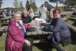 Från vänster Karin och Tore Tillman och Monica Åhlén och Lasse Eriksson, alla bosatta i Grängesberg, trivdes i försommarsolen när parken bjöd in till De äldres dag.