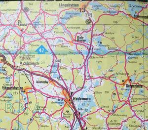 Kartbild över merparten av Hedemora kommun.