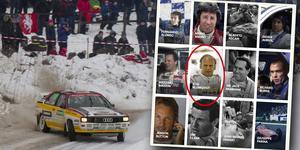 Kolla sällskapet: Stig Blomqvist bland några av bilsportvärldens största namn genom alla tider. Arkivfoto: Micke Fransson/TT