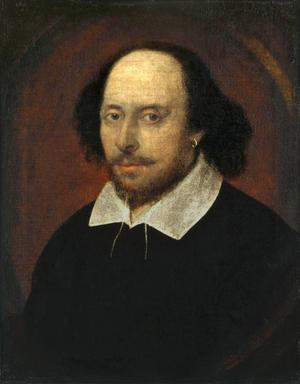 William Shakespeare. Porträttet är sannolikt målat av John Taylor 1610.