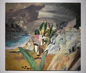 Helene Billgren vill måla det som hänt men inte syns. Idén till det gröna ansiktet i