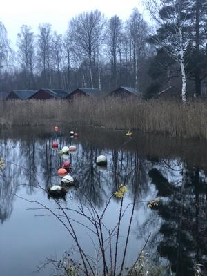 Nu gör sig hösten/vintern sig påmind, inte en båt i sjön. Bilden är tagen vid Hjälmarens strand. Foto: Lars Göran Nyberg.