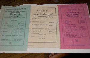 Programblad från körkonserter i Sundsvall under tidigt 1900-tal. Repertoaren är mycket nationalromantisk.