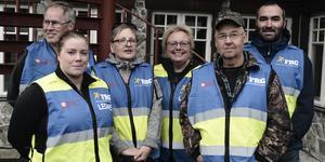Rolf Hansson, Anna Jonasson, Reidun Överby Sundin, Eva-Lotta Lundin, Roger Sundin och Modi Alkwas är medlemmar i Frivilliga Resursgruppen, FRG.