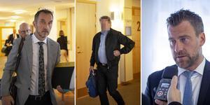 Montage. Till vänster, Peter Jonsson, åklagare. I mitten, den åtalade Sollefteåbon. Till höger, Jonas Granfelt, Sollefteåbons försvarare. Foto: Linda Hedenljung