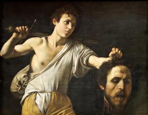 David med Goliats huvud. Målning av Michelangelo Merisi da Caravaggio från 1607.