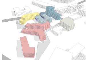 En volymskiss där Fastpartner föreslår hur området skulle kunna användas. De blå klossarna är hotell med butikslokaler i bottenvåningen. Den gula byggnaden skulle kunna användas som skola. De rosa bostäder, och den beige är ett parkeringshus. Den vita låga vinkelbyggnaden är en befintlig del av Prolympia som kan användas som förskola. Det är nu upp till kommunen att ta fram en detaljplan och se hur realistiskt förslaget är. Illustration: StudioStockholm/Fastpartner