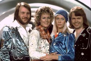 ABBA, bestående av Benny Andersson, Anni-Frid Lyngstad, Agnetha Fältskog och Björn Ulvaeus, när de vann 1974 års upplaga av Eurovisionschlagerfestivalen med låten Waterloo. Foto: Olle Lindeborg