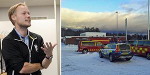 Rektor Johan Karlsson berömmer räddningstjänsten.