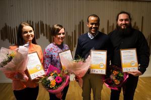 Linda Strandberg, Karolina Gilén, Abdiaziz Abdullahi och Alexander Gustafsson var studenterna som fick ta emot stipendiet.
