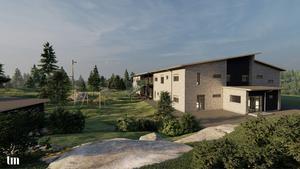 Den nya förskolan har åtta avdelningar och byggas i två plan. Illustration: TM/Filip Axelsson.