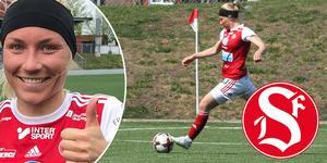 Simone Edefall hade sex anledningar att göra tummen upp under matchen mot Enköping. Bild: Stisse Åberg/Arkiv