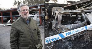 Mario Zarotti hade inte bilen i garaget som brann kunde han konstatera i morse när han kollade in brandplatsen.