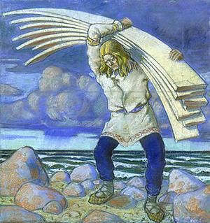 Jätten Kalevipoeg bär på ett lass jättelika brädor. Målning av Oskar Kallis från 1914.
