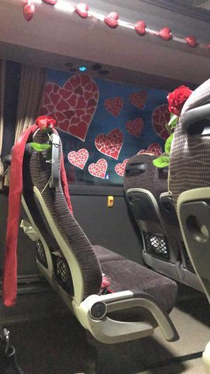 Morgonbussen från Sollefteå till Härnösand var Alla hjärtans dag till ära utsmyckad med blommor och hjärtan.