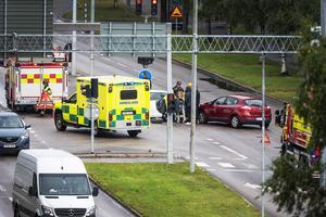En trafikolycka inträffade på Norrmalmsgatan nära Circle K.