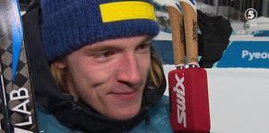 Sebastian Samuelsson var tagen efter silvret. Foto: Skärmdump (Eurosport).