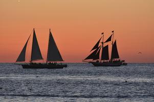 Romantiska segelturer utanför Key West i solnedgången.   Foto: Anders Pihl/TT