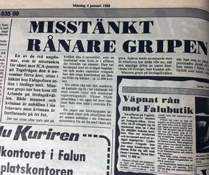 Faksimil från Falu-Kuriren den 4 januari 1988.