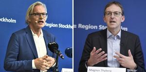 Johan Bratt, tillförordnad hälso- och sjukvårdsdirektör och vaccinsamordnare Magnus Thyberg uppdaterade om läget i hälso- och sjukvården och det pågående arbete med vaccination mot covid-19.