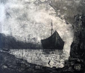 Havsmotiven återkommer i Mats Svenssons koppargrafik.