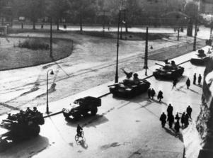 Två veckor efter att ungrare gjorde uppror mot kommunismen 1956 rullade sovjetiska tanks in på Budapests gator och slog ned upproret. 20 00 ungrare dödades och 200 000 flydde sitt hemland. Foto: UPI / TT