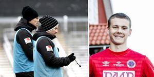 ÖSK-tränarna Daniel Bäckström och Axel Kjäll synar förra Karlsundsspelaren Jake Larsson. Arkivfoto: Karlslunds IF HFK