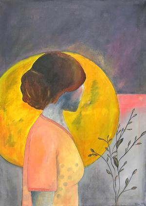 Kvinnorna vänder sig bort i Helena Nybergs målningar.