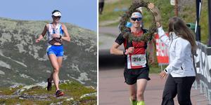 Bildmontage: Sofia Byhlinder, Mora på väg mot segern i 28 km klassen. Robin Kantarp, Finspång, vinner herrarnas 45 km och får segerkrans av Pernilla Wiberg.