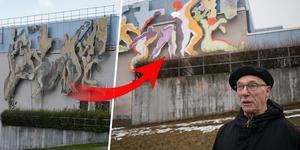 Konstverket Lagspelet har nu målats om och bytt namn till Samspelet.