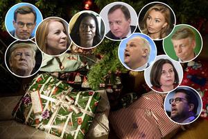 Tomtemor Sonja delar ut julgåvor till tongivande politiker. Foto: TT