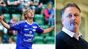 Pontus Engblom i GIF-tröjan till vänster och sportchefen Urban Hagblom till höger. Bild: Håkan Humla/Eric Westlund.