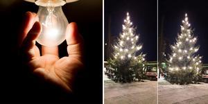 Bild: TT/Privat.  Julgranen i Lugnvik centrum har blivit plundrat på lamporna två gånger.
