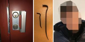 När mannen greps efter det misstänkta stöldförsöket på Rostahemmet bar han på två kofötter. Bilderna kommer från polisens förundersökning.