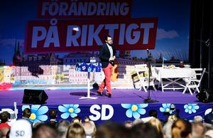 Sverigedemokraternas partiledare Jimmie Åkesson håller sitt traditionella vårtal på utomhusteatern på Långholmen i Stockholm. Foto Pontus Lundahl / TT