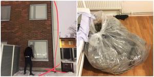 37-åringen hoppade från lägenhetsförnstret tre våningar upp. I hans rum hittades senare en sopsäck med växtdelar av cannabis. Foto: Polisen