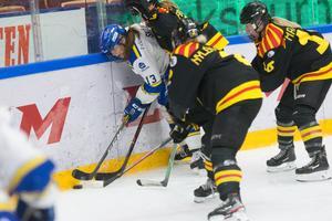 Leksands tvåmålsskytt Hanna Sköld hårdbevakas av Brynässpelarna i onsdagskvällens Gävle/Dala-derby.