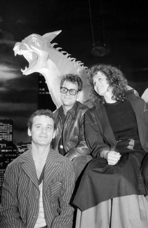 Bill Murray, Dan Aykroyd och Sigourney Weaver under inspelningen av