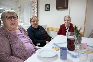 Elwy Jakobsson, Karin Rydholm och Ethel Lindahl hoppas att kommunen ändrar sig.